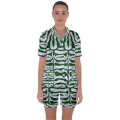 Skin2 White Marble & Green Leather (r) Satin Short Sleeve Pyjamas Set by trendistuff
