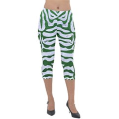 Skin2 White Marble & Green Leather (r) Lightweight Velour Capri Leggings  by trendistuff