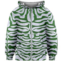 Skin2 White Marble & Green Leather (r) Kids Zipper Hoodie Without Drawstring