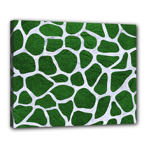 Skin1 White Marble & Green Leather (r) Canvas 20  X 16  by trendistuff