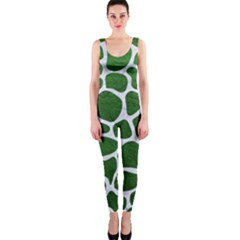 Skin1 White Marble & Green Leather (r) One Piece Catsuit