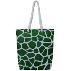Skin1 White Marble & Green Leather (r) Full Print Rope Handle Tote (small) by trendistuff
