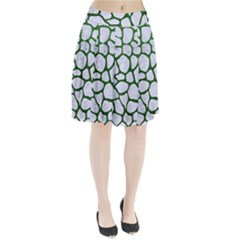 Skin1 White Marble & Green Leather Pleated Skirt