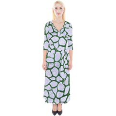 Skin1 White Marble & Green Leather Quarter Sleeve Wrap Maxi Dress by trendistuff