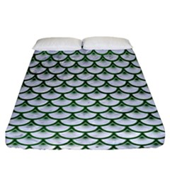 Scales3 White Marble & Green Leather (r) Fitted Sheet (california King Size) by trendistuff