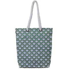 Scales2 White Marble & Green Leather (r) Full Print Rope Handle Tote (small) by trendistuff