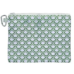 Scales2 White Marble & Green Leather (r) Canvas Cosmetic Bag (xxl) by trendistuff