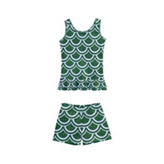 Scales2 White Marble & Green Leather Kid s Boyleg Swimsuit by trendistuff
