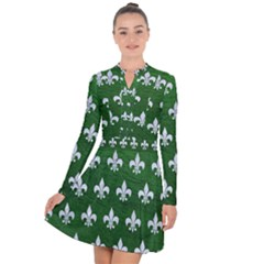 Royal1 White Marble & Green Leather (r) Long Sleeve Panel Dress
