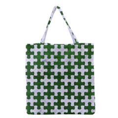 Puzzle1 White Marble & Green Leather Grocery Tote Bag by trendistuff