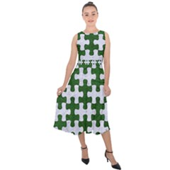 Puzzle1 White Marble & Green Leather Midi Tie Back Chiffon Dress by trendistuff