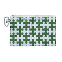 Puzzle1 White Marble & Green Leather Canvas Cosmetic Bag (large) by trendistuff