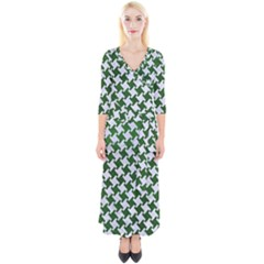 Houndstooth2 White Marble & Green Leather Quarter Sleeve Wrap Maxi Dress
