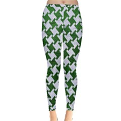 Houndstooth2 White Marble & Green Leather Inside Out Leggings