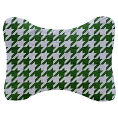 Houndstooth1 White Marble & Green Leather Velour Seat Head Rest Cushion
