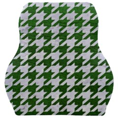 Houndstooth1 White Marble & Green Leather Car Seat Velour Cushion  by trendistuff