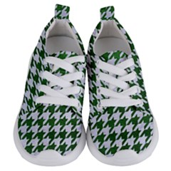Houndstooth1 White Marble & Green Leather Kids  Lightweight Sports Shoes