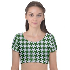 Houndstooth1 White Marble & Green Leather Velvet Short Sleeve Crop Top