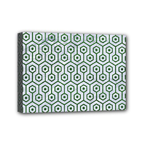 Hexagon1 White Marble & Green Leather (r) Mini Canvas 7  X 5  by trendistuff