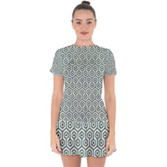 Hexagon1 White Marble & Green Leather (r) Drop Hem Mini Chiffon Dress by trendistuff