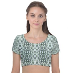 Hexagon1 White Marble & Green Leather (r) Velvet Short Sleeve Crop Top  by trendistuff