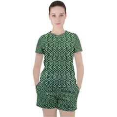 Hexagon1 White Marble & Green Leather Women s Tee And Shorts Set