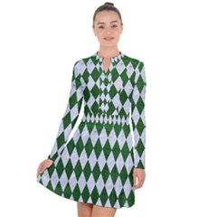 Diamond1 White Marble & Green Leather Long Sleeve Panel Dress
