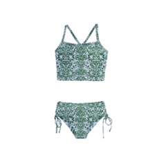 Damask2 White Marble & Green Leather (r) Girls  Tankini Swimsuit