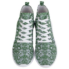 Damask2 White Marble & Green Leather (r) Men s Lightweight High Top Sneakers