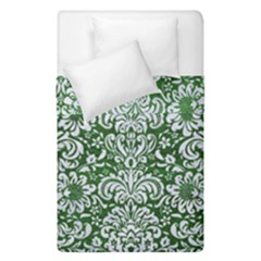 Damask2 White Marble & Green Leather Duvet Cover Double Side (single Size) by trendistuff