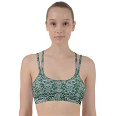 Damask2 White Marble & Green Leather Line Them Up Sports Bra by trendistuff