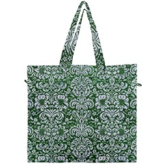 Damask2 White Marble & Green Leather Canvas Travel Bag by trendistuff