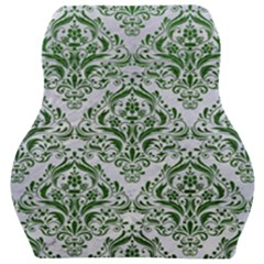 Damask1 White Marble & Green Leather (r) Car Seat Velour Cushion  by trendistuff