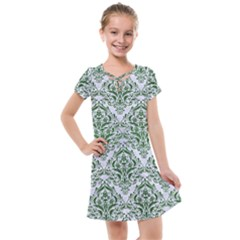 Damask1 White Marble & Green Leather (r) Kids  Cross Web Dress