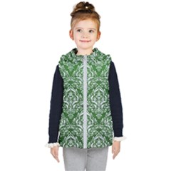 Damask1 White Marble & Green Leather Kid s Hooded Puffer Vest