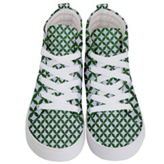 Circles3 White Marble & Green Leather (r) Kid s Hi Top Skate Sneakers