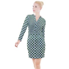 Circles3 White Marble & Green Leather Button Long Sleeve Dress