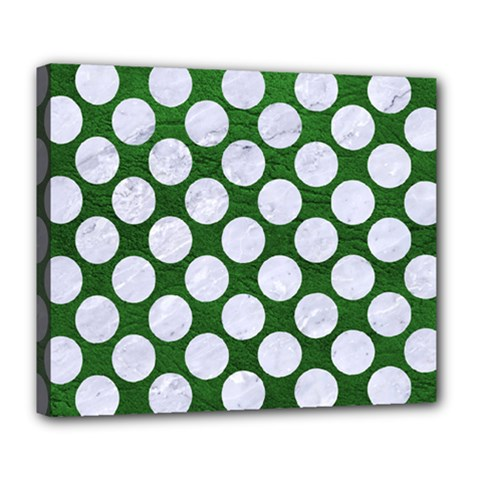 Circles2 White Marble & Green Leather Deluxe Canvas 24  X 20   by trendistuff