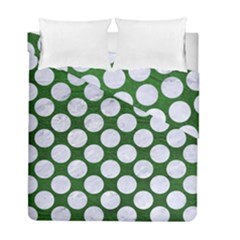 Circles2 White Marble & Green Leather Duvet Cover Double Side (full/ Double Size) by trendistuff