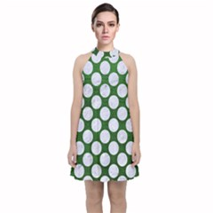 Circles2 White Marble & Green Leather Velvet Halter Neckline Dress