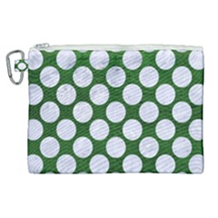 Circles2 White Marble & Green Leather Canvas Cosmetic Bag (xl) by trendistuff
