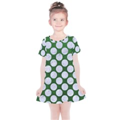Circles2 White Marble & Green Leather Kids  Simple Cotton Dress