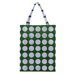 Circles1 White Marble & Green Leather Classic Tote Bag by trendistuff