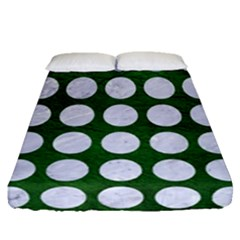 Circles1 White Marble & Green Leather Fitted Sheet (queen Size)