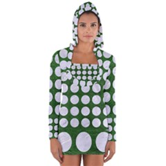 Circles1 White Marble & Green Leather Long Sleeve Hooded T Shirt