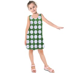 Circles1 White Marble & Green Leather Kids  Sleeveless Dress by trendistuff