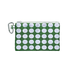 Circles1 White Marble & Green Leather Canvas Cosmetic Bag (small) by trendistuff
