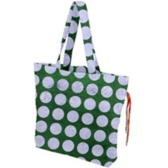 Circles1 White Marble & Green Leather Drawstring Tote Bag