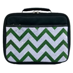 Chevron9 White Marble & Green Leather (r) Lunch Bag