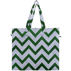 Chevron9 White Marble & Green Leather (r) Canvas Travel Bag by trendistuff